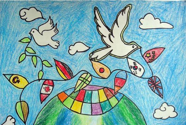 世界和平 手绘画